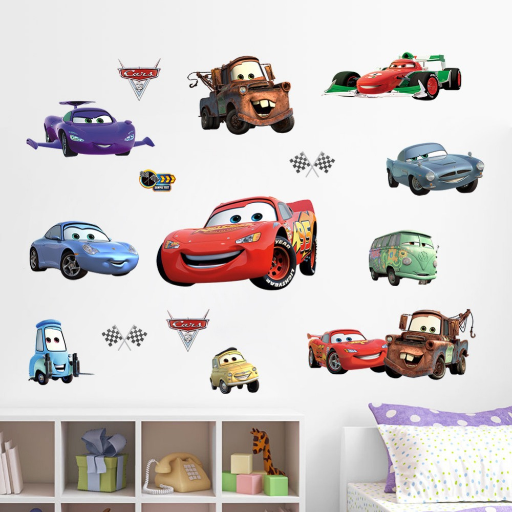 Free shipping ZY1446 New Cars Nursery kids room living room TV wall stickers waterproof removable 3D stickers home decor *(China (Mainland))