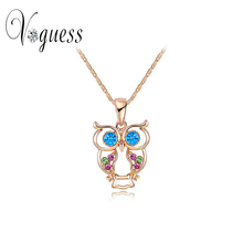 2016 New Brand Fashion Necklace Rose Gold Crystal Owl Necklace Pendants with Austrian Crystal Necklace Trendy Animal Jewelry(China (Mainland))