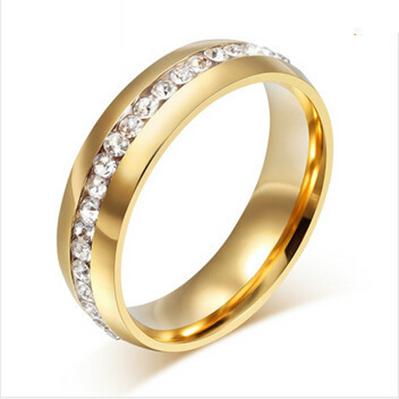 Stainless Steel Crystal Engagement Wedding Rings For Women Gold Silver Jewelry Promotion