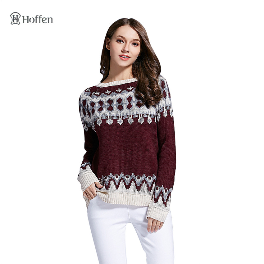 Hoffen 2017 New Winter Sweater O Neck Full Sleeve Jacquard Knitted Sweaters Casual Warm Christmas Pullovers Jumper Women WS21(China (Mainland))