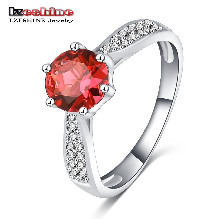 LZESHINE Cute Round Stone Rings Platinum Plated Micro Inlay Red Color Cubic Zirconia Cocktail Rings for Party CRI0148-B(China (Mainland))