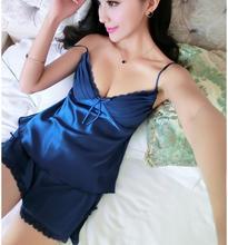 2016 New arrival womens pijama set silk pajamas lace summer pajamas Female Sleep set Women's Deep V-neck Sexy Spaghetti