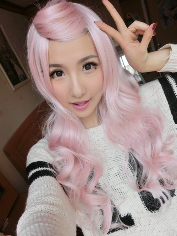 women wig cosplay cheap synthetic wigs light pink wig lolita wigs liangli long curly hair rainbow wigs female 28'',free shipping(China (Mainland))