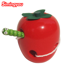 Simingyou The Caterpillar Eats The Apple Wooden Puzzle Educational Toys For Children WMY10(China (Mainland))