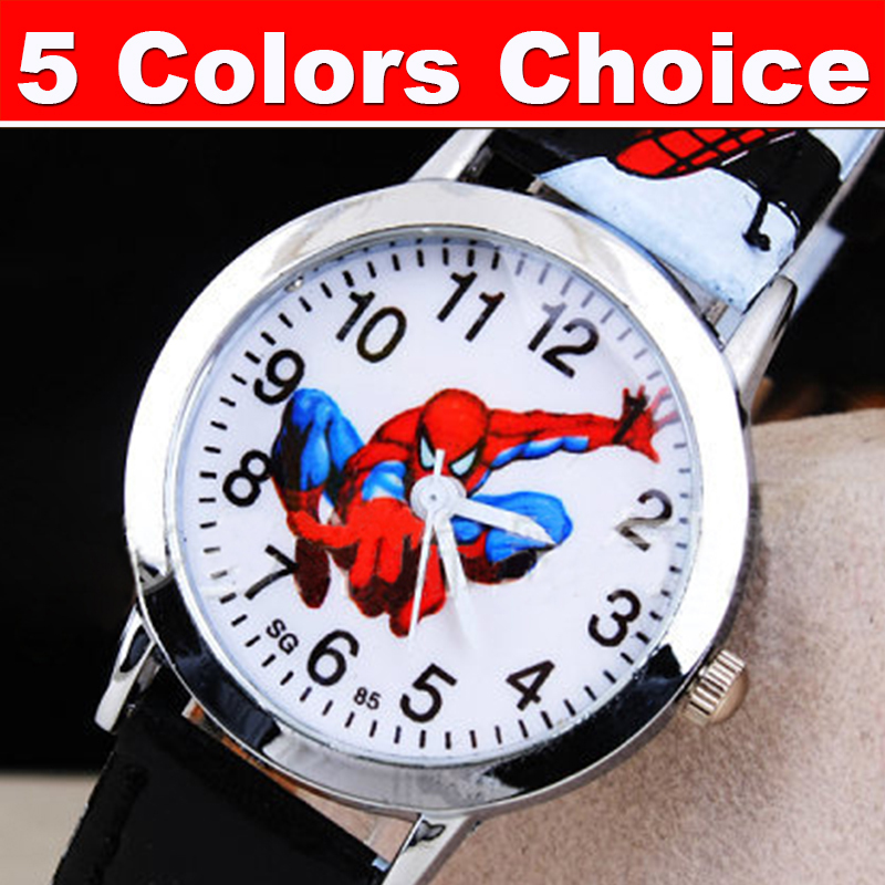 Гаджет  Spider cartoon watch children wrist kids leather quartz wristwatches child boy clock relogio infantil reloj ninos montre enfant None Ювелирные изделия и часы