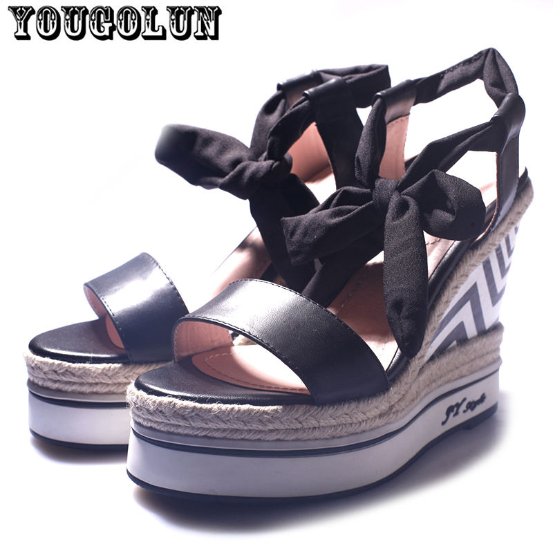 Genuine Leather black white gladiator women sandals 2016 summer Ladies open toe wedges high heels shoes Womens casual Sanadals