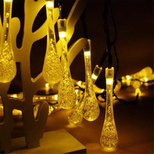 Solar Powered 20LED String Light Water Drop Covers Christmas Tree Landscape Lamp(China (Mainland))