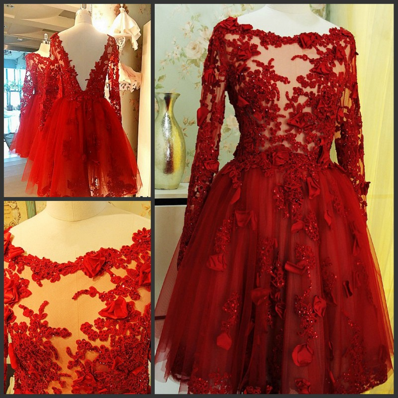 Hard Work Top Quality Real Sample Same as picture 2015 Scoop Red Bridal Gowns Lace Beaded Appliques Wedding dress for women(China (Mainland))