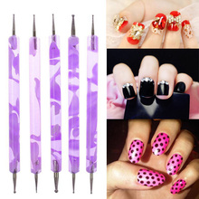 1Set 2 pcs Sable Dual-Ball 2-Way Marbleizing Acrylic UV Gel Nail Art Design Set Dotting Painting Brush Pen Purple(China (Mainland))