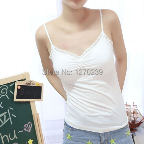 SY194 With Ruffles Long Solid Casual Cotton Spandex Camisole Bra Chest Pad Lace Halter Tops Blusas Bottoming Shirt Free Shipping(China (Mainland))