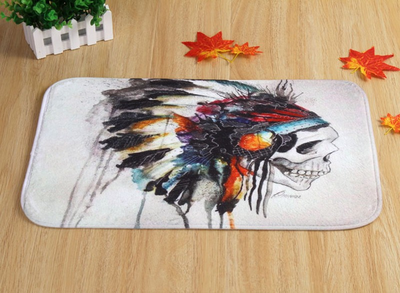 Coral Velvet Bathroom Carpet Mats Anti Slip Rug Shower 40x60cm Indian Skull  Bath Kitchen Doormat For Hallway Home Decoration   Us48