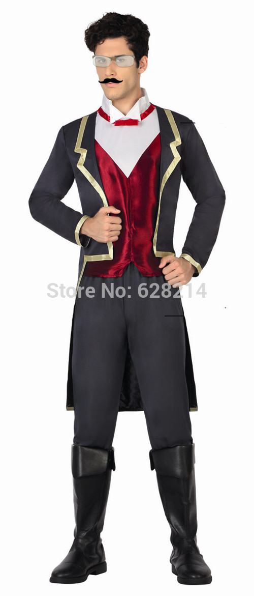 Hot sale - 2016 New Fashion Style Carnival Cosplay Costume Party Clothing for man adult knitted Period Suit costumes Black Color(China (Mainland))