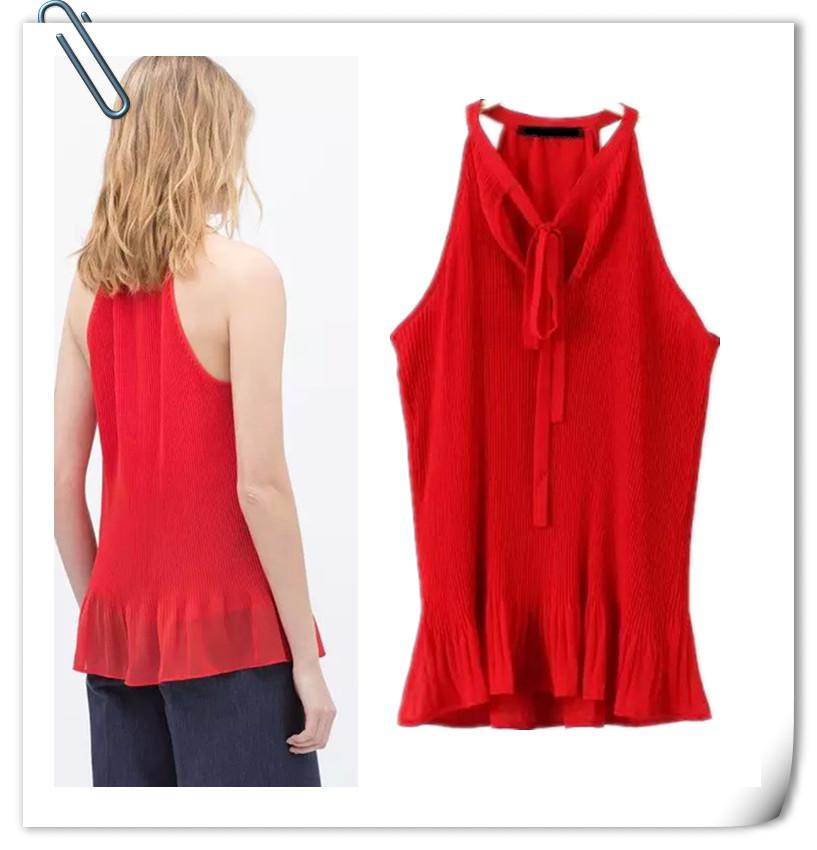 Tops Real Women Shirts 2015 New Summer And The Wind Crushed Halter Chiffon Shirt Fashion Slim Sleeveless Blouse Aliexpress Ebay(China (Mainland))