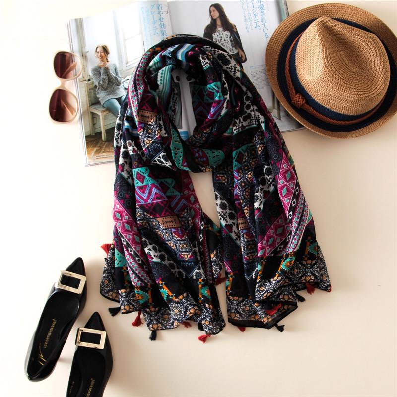 wholesale art bohemian geometric floral tassel scarf muslim scarves hijab fashion brand design foulard fashion geometic(China (Mainland))