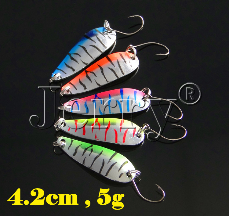 Jerry 10pcs color spoon 4.2cm 5g salmon tackle box trout pike strip pattern metal lure fishing bait freshwater(China (Mainland))