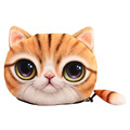 3D Frosted Women Cute Cat Printing Coin Purses Girls Animals Cat Face Tail Coin Purse Kids