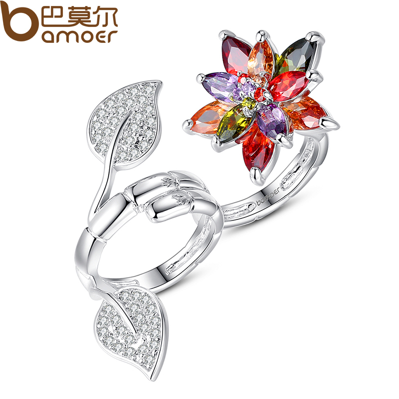 BAMOER Trendy Design 2 Finger Ring for Women Flower Shape with Colorful CZ Double Ring Suit for Finger of Size 7'/8' YIR034(China (Mainland))