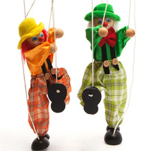 2016 New Funny Toy Pull String Puppet Clown Wooden Marionette Toy Joint Activity Doll Vintage FCI#(China (Mainland))