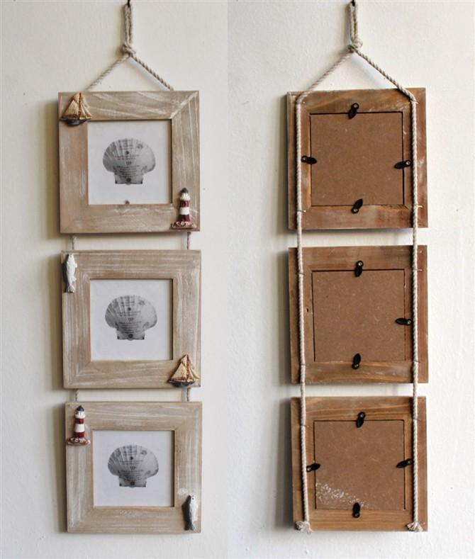 Buy 3 5 inch mediterranean triple wood for Espejos de madera vintage