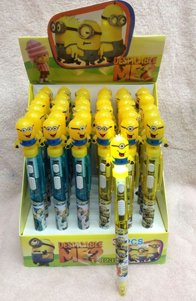 Lot 1box 36pcs Despicable me stationery LED lights Ballpoint pen School supplies(China (Mainland))