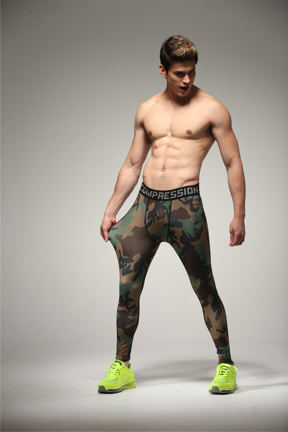 men 39 s camo base layer fitness jogging trousers compression tights pants running tranining. Black Bedroom Furniture Sets. Home Design Ideas