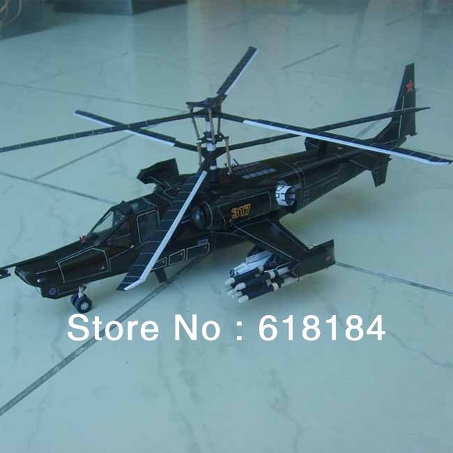 Free shipment  Paper Model Gunship diy toys 1:36 Russia Kamov Ka-50 Juodasis Ryklys Armed helicopters Hokum B 3d puzzles crafts