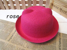 2016 Fashion Straw Hats Summer Baby Ear Decoration Lovely Child Character Girls And Boys Sun Hat Solid Children Floppy Panama(China (Mainland))