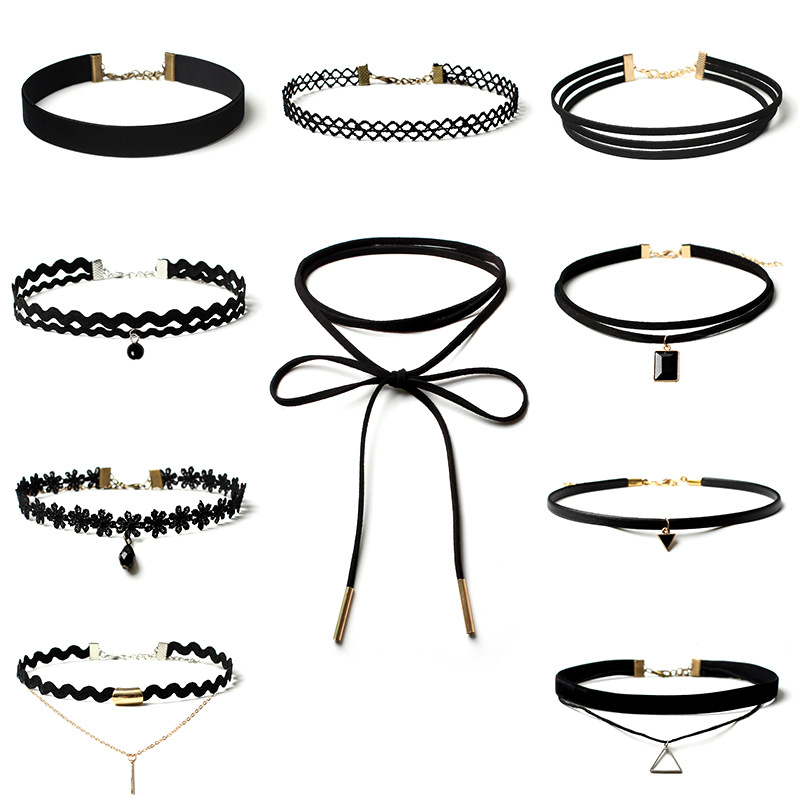 10 Pcs/pack Charm Black Velvet Lace Daisy strip Multilayers pendant Choker Necklace woman Collar Party Jewelry Neck accessories(China (Mainland))