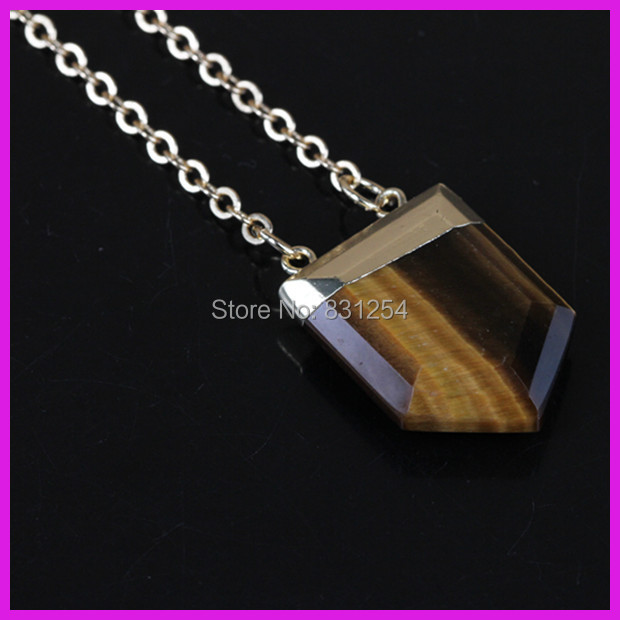 1PC New Style Tiger Eye Crystal Gem Stone Pentagon Point Charm Pendant Connector Gold Chain Drusy Necklace Fashion Jewelry Gifts(China (Mainland))