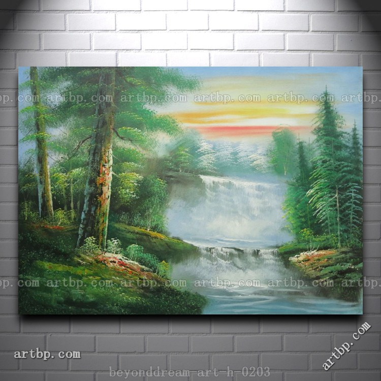 Small Waterfall In Forest At Sunrise Oil Painting Naturalism Landscape Chinese Reproductions Vertical Free Shipping Hand-(China (Mainland))