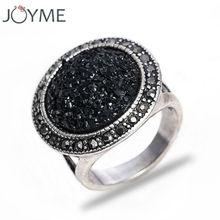 Новый горячий черный щебня аксессуары кольца для женщин ну вечеринку античная посеребренные старинные ювелирные изделия жить , чтобы обручальное кольцо(China (Mainland))