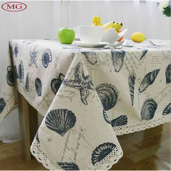 9 different sizes cotton linen tablecloth blue shells dustproof table cover retangle/square for home outdoor party(China (Mainland))