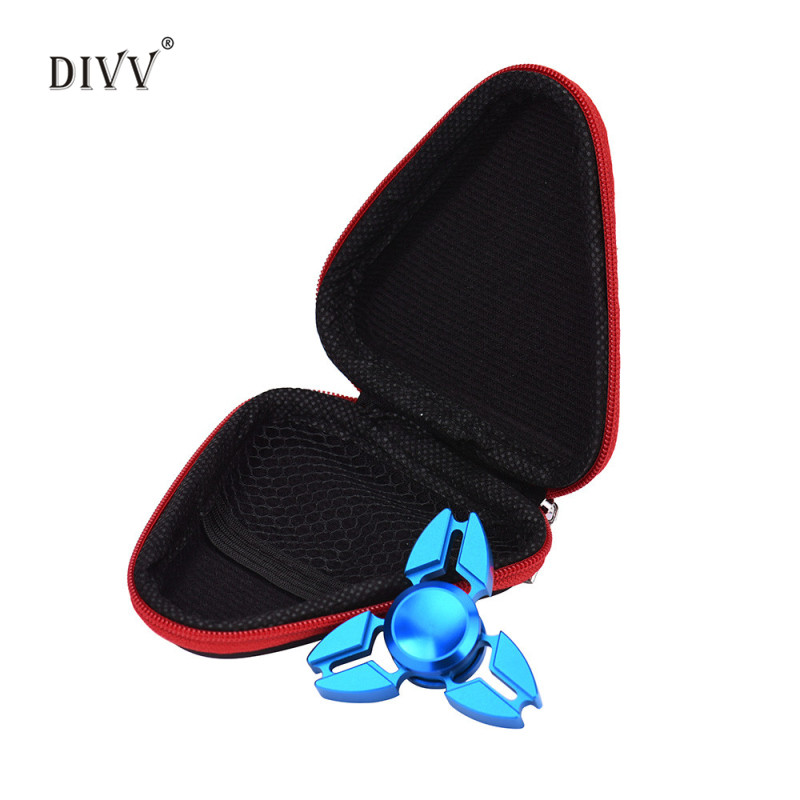 DIVV 9*3.5cm EVA Fidget Hand Spinner Triangle Finger Box Focus ADHD Autism Bag Carry Case Packet Yellow,Green,Purple,Blue,Red(China (Mainland))