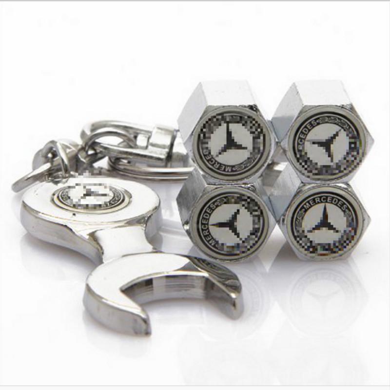 4pcs Stainless Steel Caps Car Emblem Wheel Tire Valve Caps Tyre Dust Cap For Mercede bens(China (Mainland))