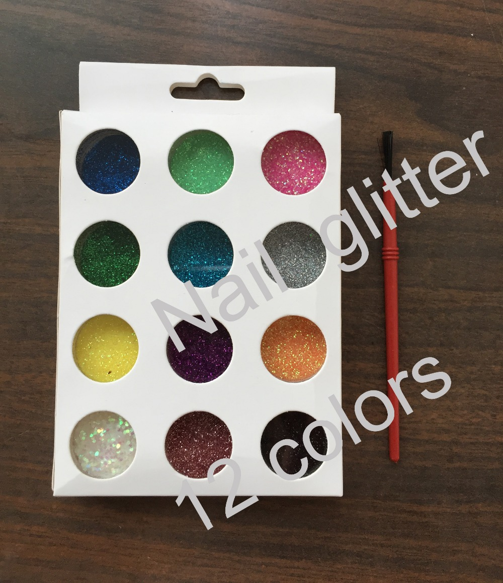 Beauty 12 Color/ Set Metal Glitter Nail Art Tool Kit Acrylic UV Powder Dust gem Polish Nail Tools(China (Mainland))