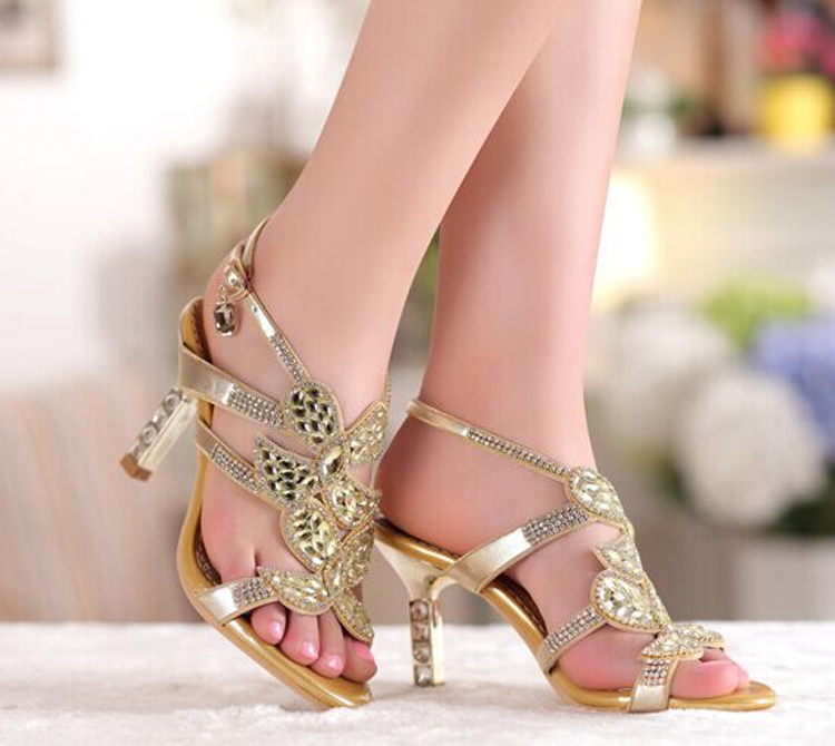 Gold Sandal Floral Crystal Rhinestones 8cm High Heels New High Quality Prom Evening Party Dress Women Lady Bridal Wedding Shoes<br><br>Aliexpress