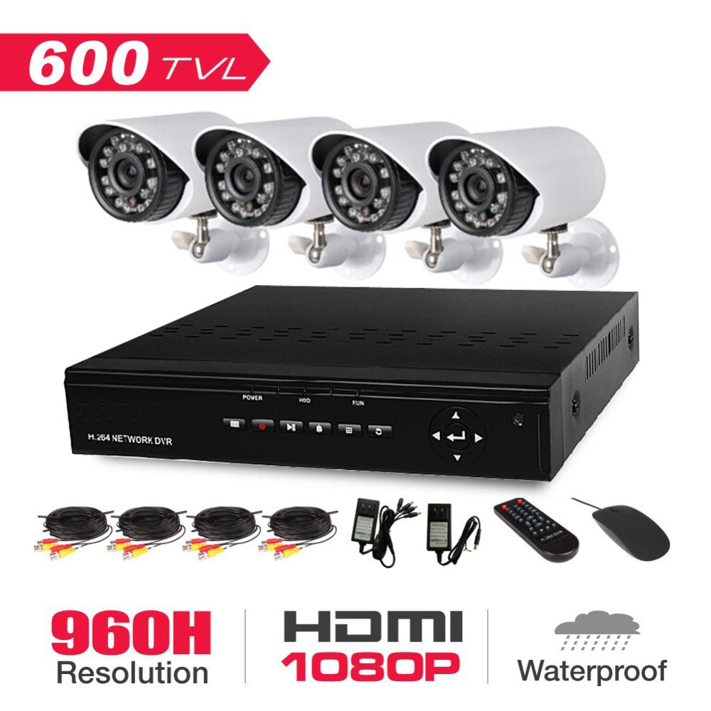 Home Surveillance Security Camera System CCTV Kit With DVR 4CH Full D1 4 Channel And 4pcs 600TVL IR Weatherproof Cameras(China (Mainland))