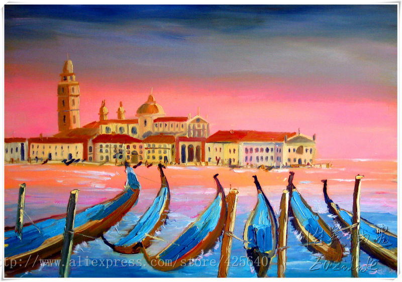 Venice oil painting italian oil painting on canvas hight Quality handmade oil painting Pink Venice Sunset and Gondola(China (Mainland))