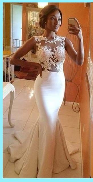 Великолепная русалка пром платья 2016 горячая распродажа сексуальная белыми кружевными ...