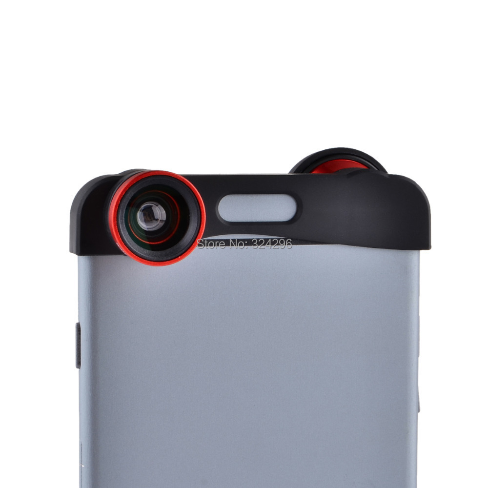 Micro 3-in-1 Photo Lens Quick-Change Camera Lens for iPhone 6 Plus Colorful lens 180 Degree View Lens