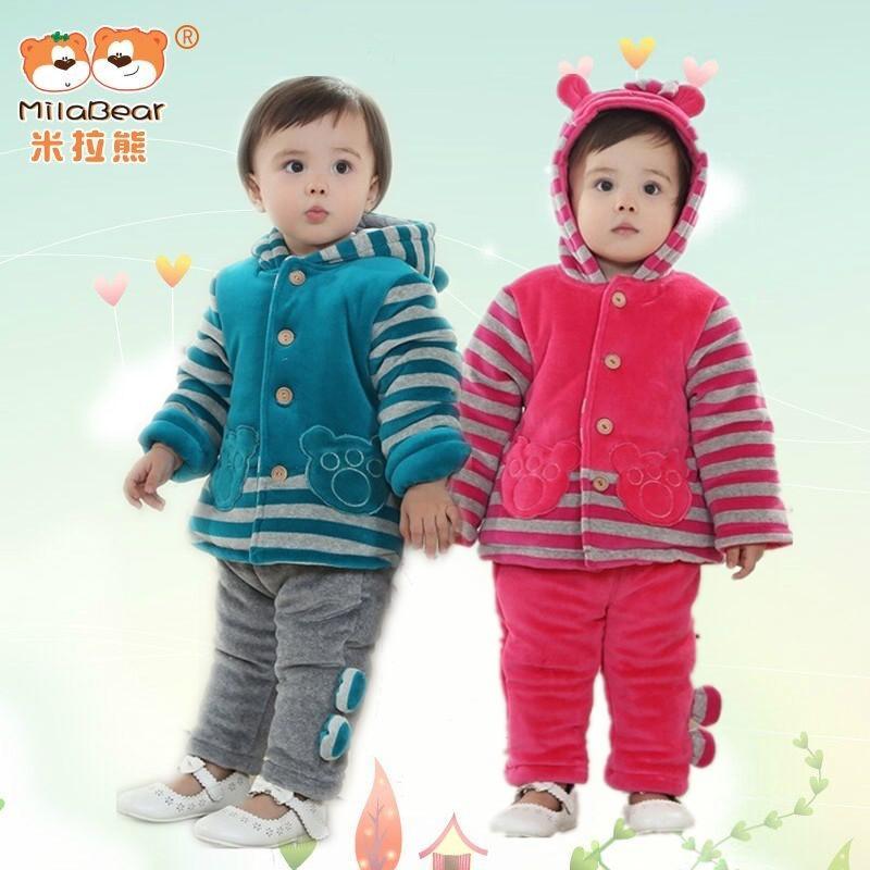 Milabear Fashion 2015 Baby Winter Suit Cotton-padded Clothing Set Enfants Boys&Girl's Jacket+Pants 2pcs Thickening Suits 12-24M(China (Mainland))