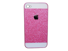 shinny bling glitter mobile phone case PC protect back cover case for iphone 4 4s black gold white pink color free shipping(China (Mainland))