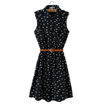summer dress 2015 new chiffon dress women Cat footprints pattern Show thin Shirt dress with Belt print dresses