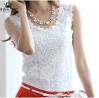 2015 Summer Blouse Fashion Lace Casual Sleeveless Plus Size Shirts Women Brand Black,White Tops Renda Roupas Blusas Femininas