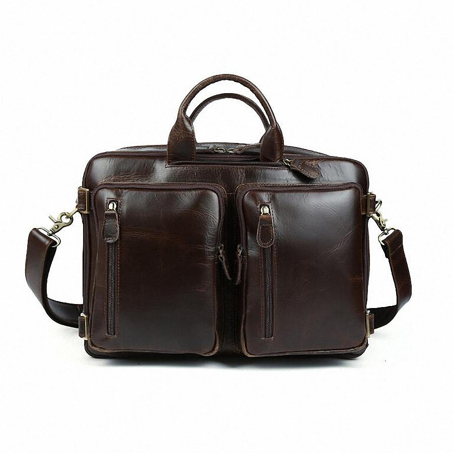 Men Genuine Leather Briefcase Messenger Bags Men travel backpack For 14 inches Notebook handbag Shoulder Bag Office Bags LI-781