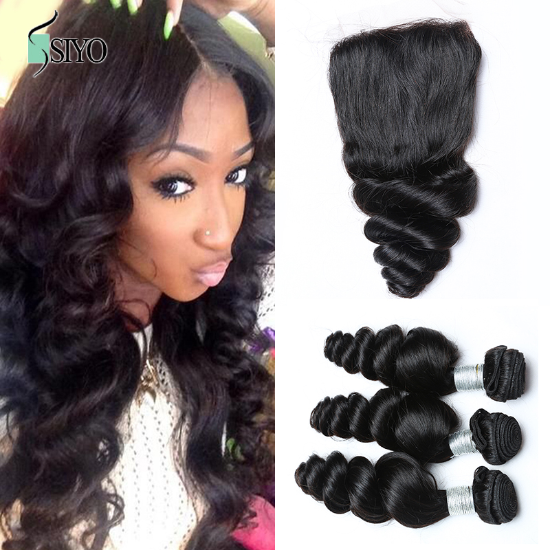 Loose Wave,1 Piece Lace Closure and 3Pcs Hair Bundles 100% Brazilian Virgin Hair Weft,4pcs/lot 8-30 Free shipping by DHL<br><br>Aliexpress