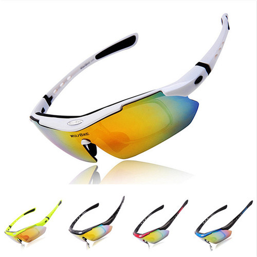 WOLFBIKE fashion sports Cycling Glasses bicycle Outdoor Sports Bike Sunglasses TR90 Ski Goggles Eyewear 5 Lens White - Lanting Products Co.,Ltd. store