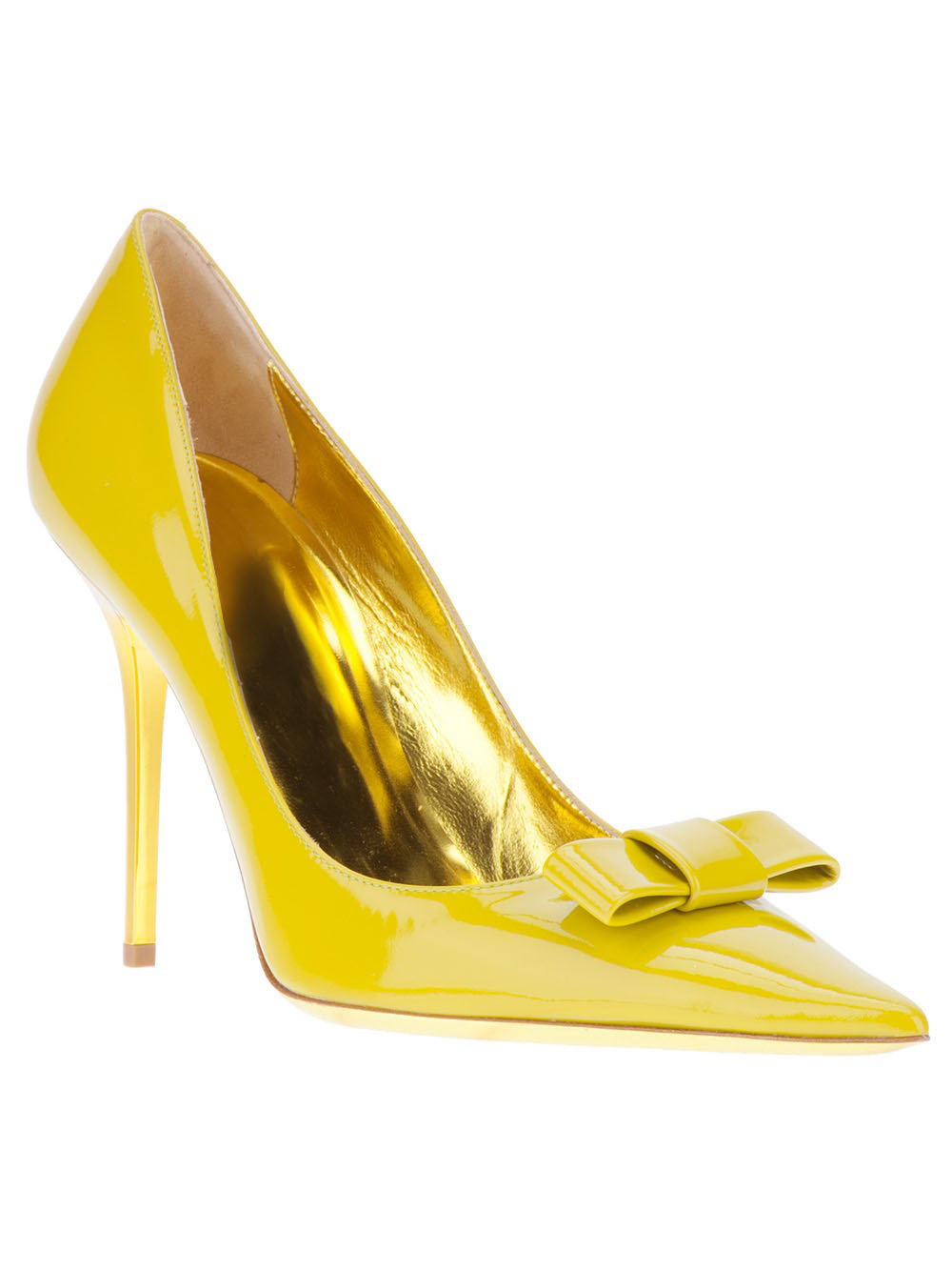 Fashion Women High Heels Pump 2015 Women Dress Shoes Yellow Patent Leather Butterfly Knot Decoration Pointy Toe Pumps Wholesale <br><br>Aliexpress