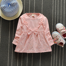 Fashion Toddler Girl Dresses Autumn Kids Floral Print Cotton Long Sleeve Baby Dress Bow Baby Girl Clothing 2016(China (Mainland))