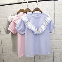 Alpha 2016 Summer Women Short Sleeved Blouses Trendy V Shape Ruffles Preppy Style Pullovers Summer Blouses Shirts in 3colors(China (Mainland))